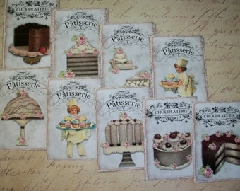 PATISSERIE - Lovely French desserts - Chocolaterie - Your choice of Mini Cards, Stickers, or Folded Note Cards - Set of 8 - PCT 8989