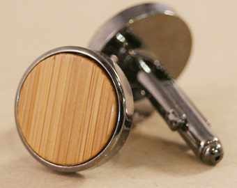 Cuff links - Sustainable Bamboo in Gunmetal Bezel cufflinks