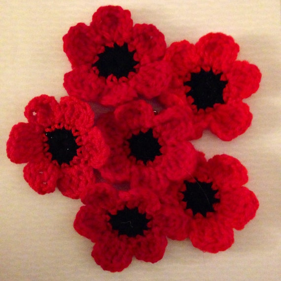 Knitting Pattern For Poppy Brooch : Items similar to Knitted Poppy Brooch - Tiny Stitches Poppy Appeal 2014&...