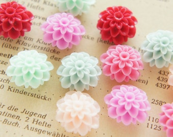 SALE 11 pcs Matte Finished Dahlia  Cabochon (18mm)  FL391 (((LAST/ no restock)))