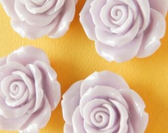 4 pcs Huge Full Bloom Rose Cabochon (41mm43mm) Purple FL312