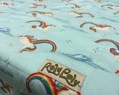 Unicorns and Rainbows.  Soft Organic Cotton Roundabout Blanket