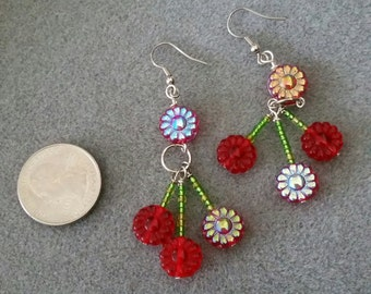 Red flower and green glass beaded earrings