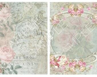 INSTANT DOWNLOAD - Serene 2 Paper Set - Collage Sheet - Printable Download - Gift Tags - Scrapbook