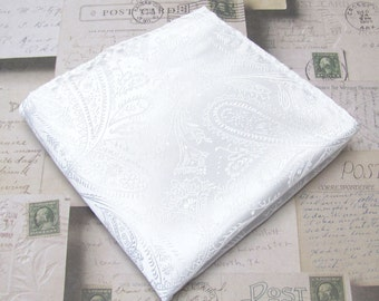 Pocket Square White Paisley Hankie