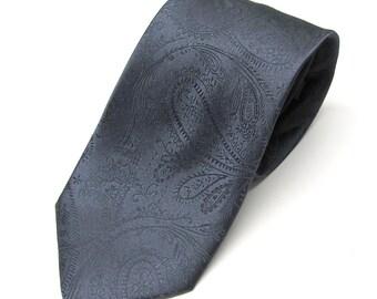 Mens Tie - Dark Gray Paisley Silk Tie