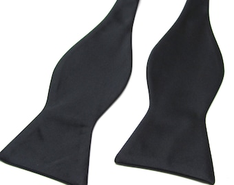 Mens Bowtie. Freestyle Black Self Tie Bow tie With Matching Pocket Square Option