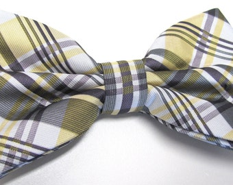 Mens Bowtie. Yellow Purple Plaid Bowtie With Matching Pocket Square Option