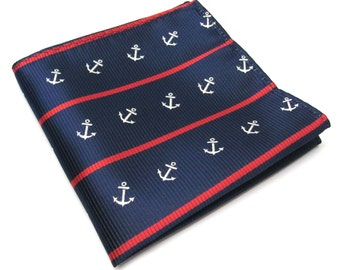 Pocket Squares Navy Blue Red Anchor Nautical Stripes Hankies