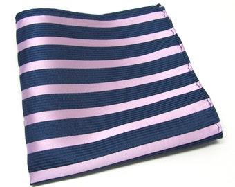 Pocket Square Navy Blue and Pink Stripes Hankie