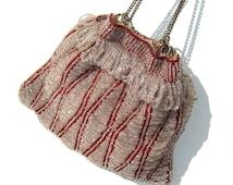 Vintage Beaded Reticule Flapper Swag Purse Red & Crystal Beads