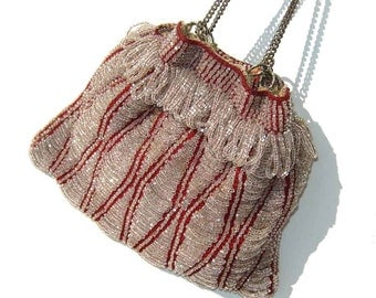 Vintage Beaded Reticule Flapper Swag Purse Red & Crystal Beads