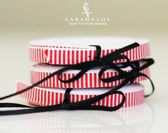 "1/4"" White and Red Stripe Ribbon 5 yards"