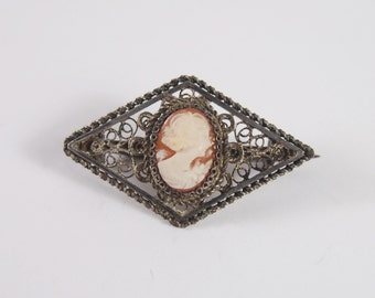 Cameo Carved Shell 800 Silver Filigree Brooch Vintage 30s 40s Jewelry