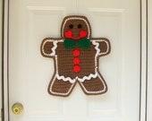 Crochet Pattern - Gingerbread Man Door Hanging - Christmas Crochet Pattern - Digital Download