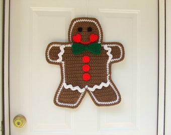 Crochet Pattern - Gingerbread Man Door Hanging - Christmas Crochet Pattern - Digital Download