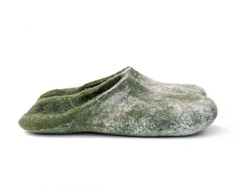 Cashmere and merino wool slippers Olive Green Gray slippers Unisex Men Women slippers Handmade shoes
