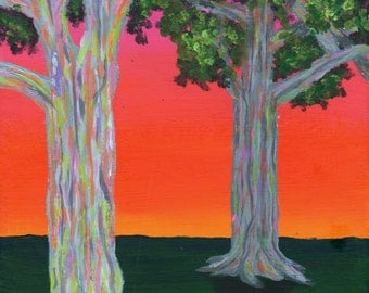 "Rainbow Eucalyptus Trees Sunset Hawaiian Tropical Landscape Art Original Acrylic Painting 8"" x 10"" on Canvas Board Pink, Orange, and Red Sky"
