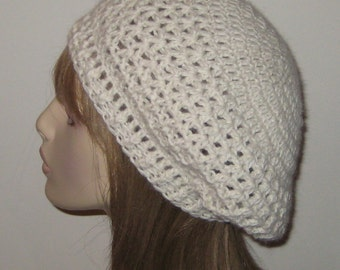 Alpaca Slouchy Beret Dread Tam Winter Hat in Natural