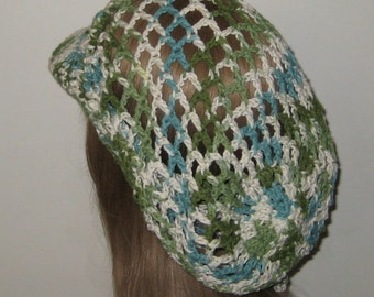Long Cotton Crochet Billed Slouchy Beanie Dread Hat Tam