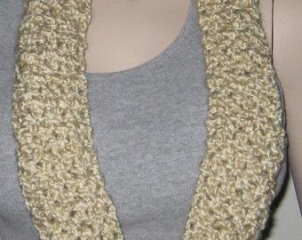 Crochet Homespun Infinity Scarf Cowl in Cream