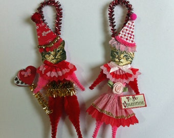 Cat VALENTINE ornament Valentine KITTY CAT ornament vintage style chenille ornaments set of 2