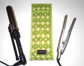 Flat Iron Case/Curling Iron Travel Cover, Mod Ikat, Green