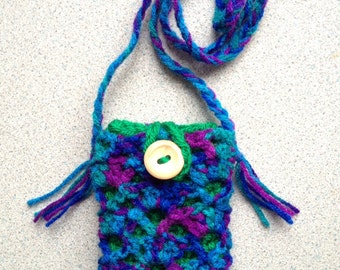 Phone cosy and bag - blue, green and pink