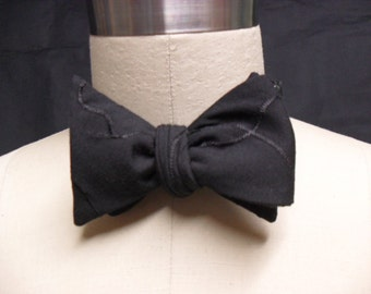 Black Squiggle Embroidery Bow Tie