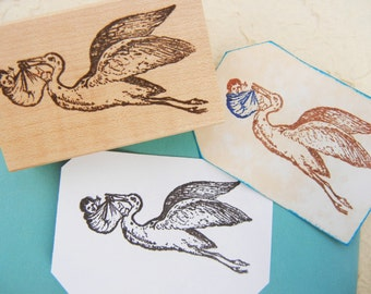 Stork with Baby Rubber Stamp // Bird Rubber Stamp // Birth Announcment, Baby Showers, New Baby - Handmade rubber stamp by BlossomStamps