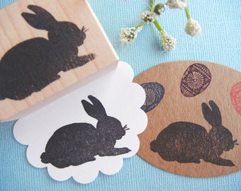 Rabbit Rubber Stamp // Easter Bunny Rubber Stamp - Handmade  by Blossom Stamps
