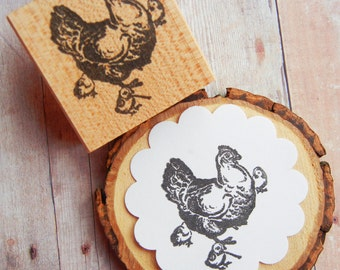 Chicken Hen with Chicks Rubber Stamp // Farm Animal rubber stamp   - Handmade by Blossom Stamps