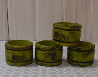 Wooden Napkin Rings in Chartreuse  Distressed Cottage Chic Distressed Four or order more