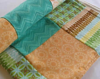 Medallion Patchwork Baby Quilted Blanket - Peach, Mint Green, Turquoise Baby Nursery