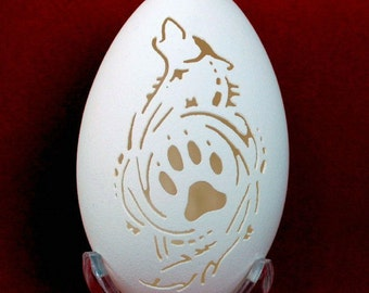 Hand Carved Goose Egg - Wolf and Paw