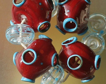 Red and Blue Volcano - Handmade Lampwork Hollow Beads Set SRA