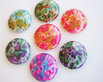 100 Abstract Painted Colored Glass Domes 16mm Cabs Cabochons Pendants SALE
