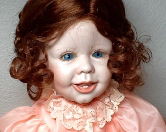 "Vintage Doll Porcelain Reproduction Blue Eyed 20"" Ballerina, ready to ship"