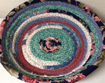 Bohemien Coiled Baskets and Mats - Basket or Bowl, Multicolored, Storage and Organization