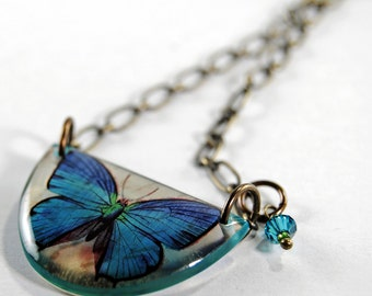 cerulean blue butterfly necklace , butterfly necklace, resin necklace, gifts under 25