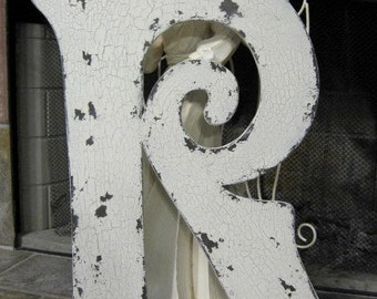 LETTER R 2 ft tall Vintage Style Wood Cut Out Signs, Guest Book, Save the Date, Shabby Cottage ANY LETTER A - Z