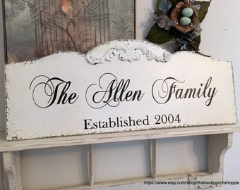 CUSTOM FAMILY SIGN, Wedding Sign, Personalized Sign, Established Date - 12 x 30