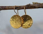 Gold discs  earrings Gold discs dangle earrings 24K golden earrings