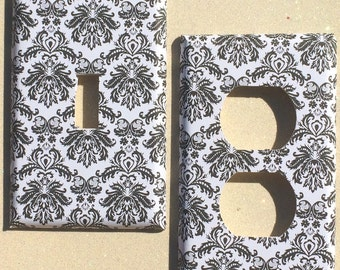 Black White French Damask Baroque Switchplate Double Triple Rocker Dimmer Blank Cable Outlet