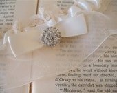 Les Etoiles   Ivory Satin Bridal Garter, Antique White Lace and Organza, Art Deco Rhinestone, Satin Bow, Handmade Wedding - Ready to Ship