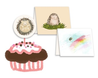 Hedgehogs Over the Rainbow Drawings, Clip Art, Illustrations, GIF, JPEG