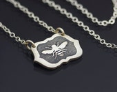 Framed Honey Bee Necklace - Etched and Oxidized Sterling Silver - Hand Drawn Nature Jewelry - MADE TO ORDER