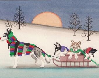 Malamute family takes a holiday sled ride / Lynch signed folk art print