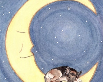 German shepherd takes a nap on the moon / Lynch signed folk art print