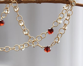 Garnet Necklace with Sapphires in Gold - SALE 50% OFF